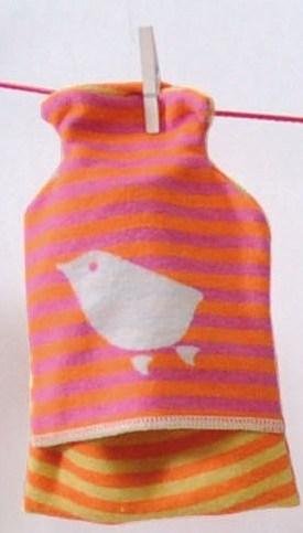 Detský termofor s vtáčikom, oranžovo-fialový, David Fussenegger