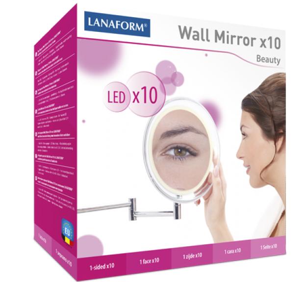 Kozmetické zrkadlo na stenu s LED osvetlením Lanaform Wall Mirror X10